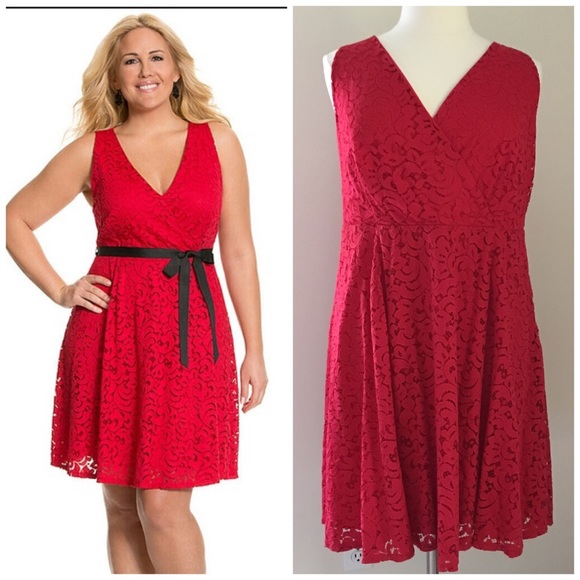 923415ce595 Lane Bryant Dresses   Skirts - Lane Bryant Red Lace Sleeveless a-line dress  20
